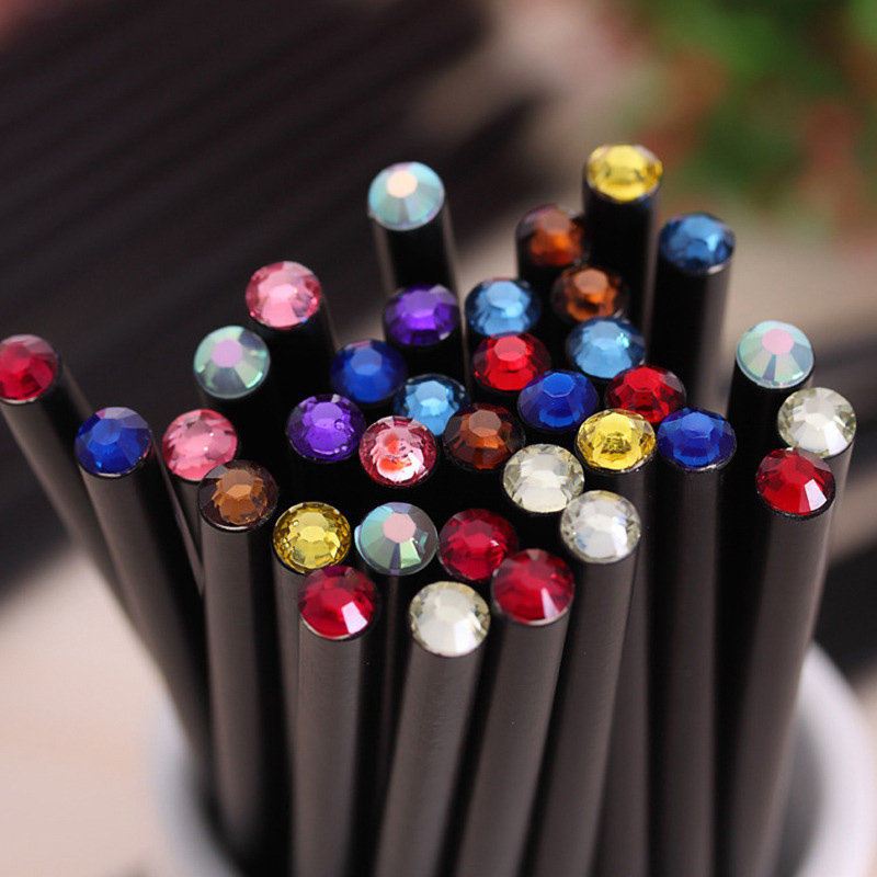 1Pc Creative HB Acrylic Diamond Pencils Kawaii Black Wooden Pencils For Kids Girls Gift Back To School Supplies Stationery