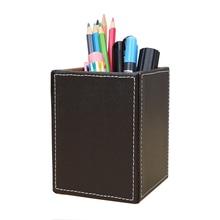 Настольный держатель пера PU кожаный поверхности твердых цветной карандаш стенд ящик для хранения стол организатор офис школы 8.7*8.7*11.7 см