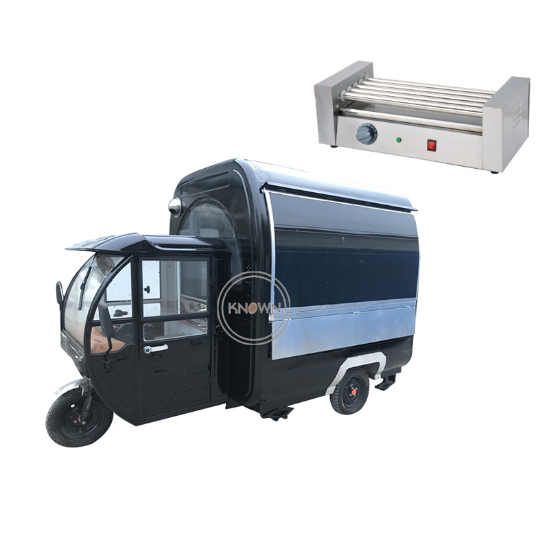 Customized  Electric Tricycle Food Cart Food Truck With Free Hotdog Grill For Sale