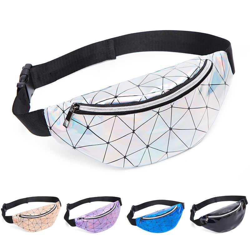 Holográfica Sacos de Cintura Bloco de Fanny Das Mulheres Travesseiro Rosa Feminino Cintura Pacotes de Saco de Cinto de Prata Geométrica Laser No Peito Cinto de Telefone Carteira