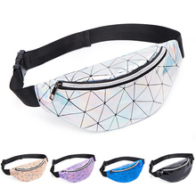 Holographic Waist Bags Women Pillow Fanny Pack Female Pink Silver Belt Bag Geometric Packs Laser Chest Phone Wallet