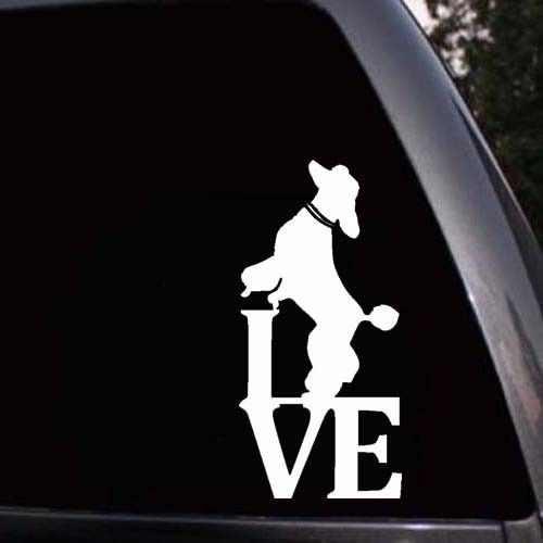 I LoveมาตรฐานPoodle Dog Silhouetteหน้าต่างหน้าต่างรถบรรทุกแล็ปท็อปสติกเกอร์รูปลอก
