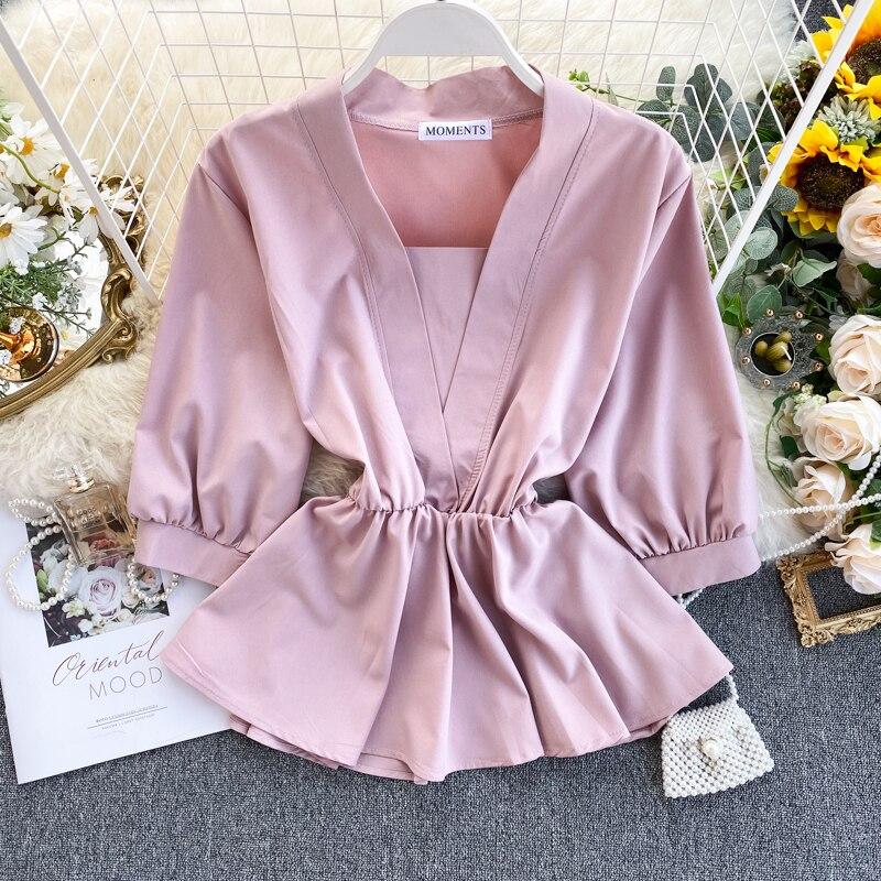 Women's Temperament Shirt Spring Autumn Design Ruffles Lace Up Waist Wild Shirt Tide Solid V-Neck Three Quarter Shirts Top ML673