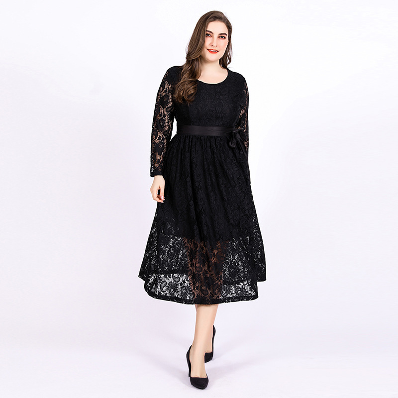 Plus Size Black Floal Lace Evening Dresses A-Line O-Neck Long Sleeve See-Through Bow Sashes Elegant Party Gowns Robe De Soiree
