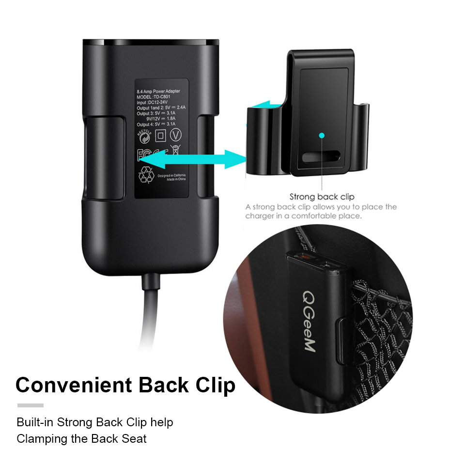 QGEEM 4 USB QC 3.0 Car Charger Quick Charge 3.0 Phone Car Fast Front Back Charger Adapter Car Portable Charger Plug for iPhone