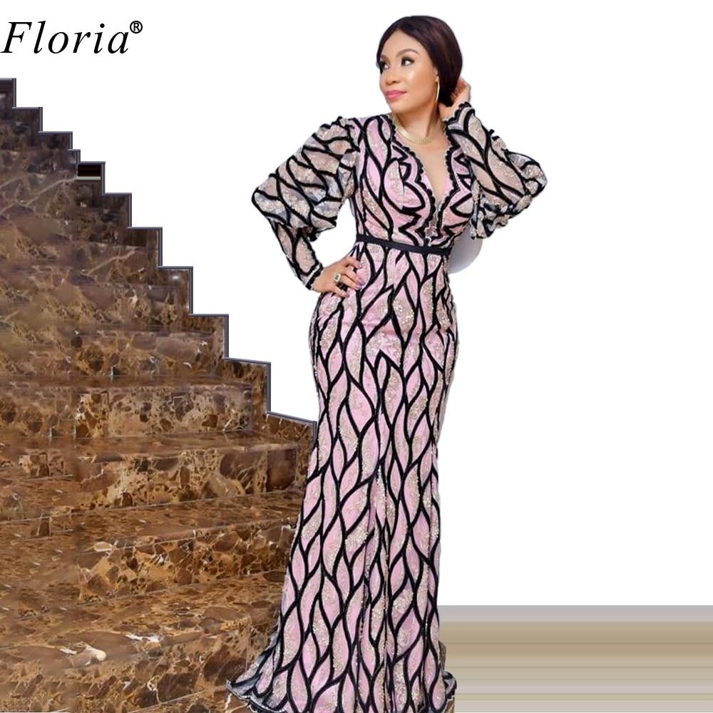 Formal African Evening Dresses 2020 Long Sleeves Prom Dresses Evening Wear Women Celebrity Dresses Robe De Soiree Vestidos