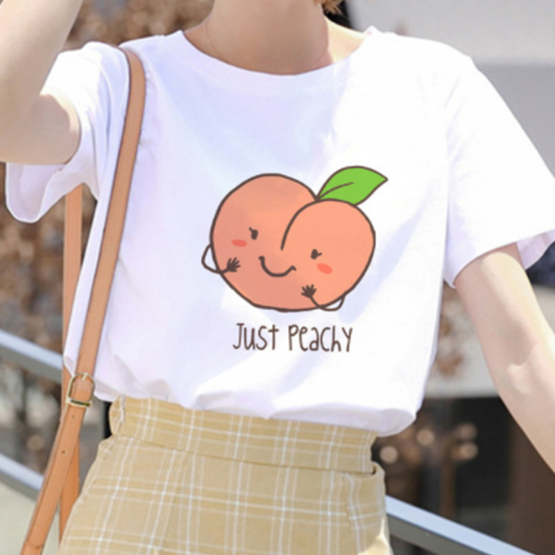 Lus Los Kawaii Pink Peach Printed T Shirt Just Peachy Cute Cartoon Women Harajuku Summer Casual Fashion Tshirt Tee