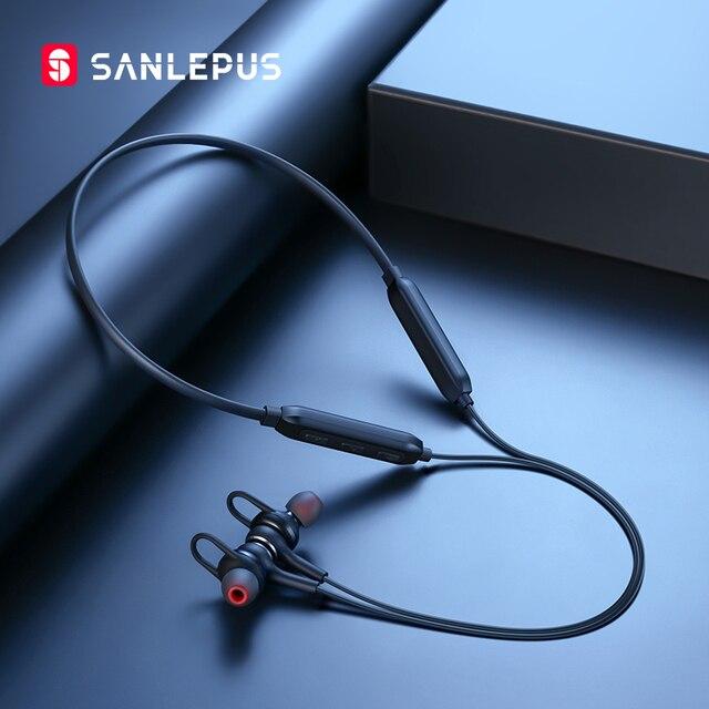 SANLEPUS słuchawki bezprzewodowe 5.0 Bluetooth słuchawki douszne słuchawki sportowe uruchomione Stereo słuchawki douszne telefonu zestaw słuchawkowy dla Apple Android