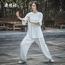 Женский комплект для йоги Тай Чи кунг фу льняная свободная быстросохнущая