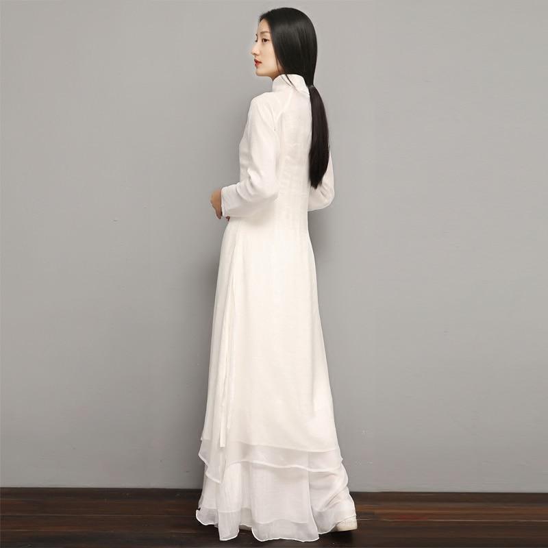 2020 Chinese Women Cheongsam Lady Qipao Loose Pure White Long Dress Zen Meditation Tea Dress Clothes Elegant Gown Vestidos