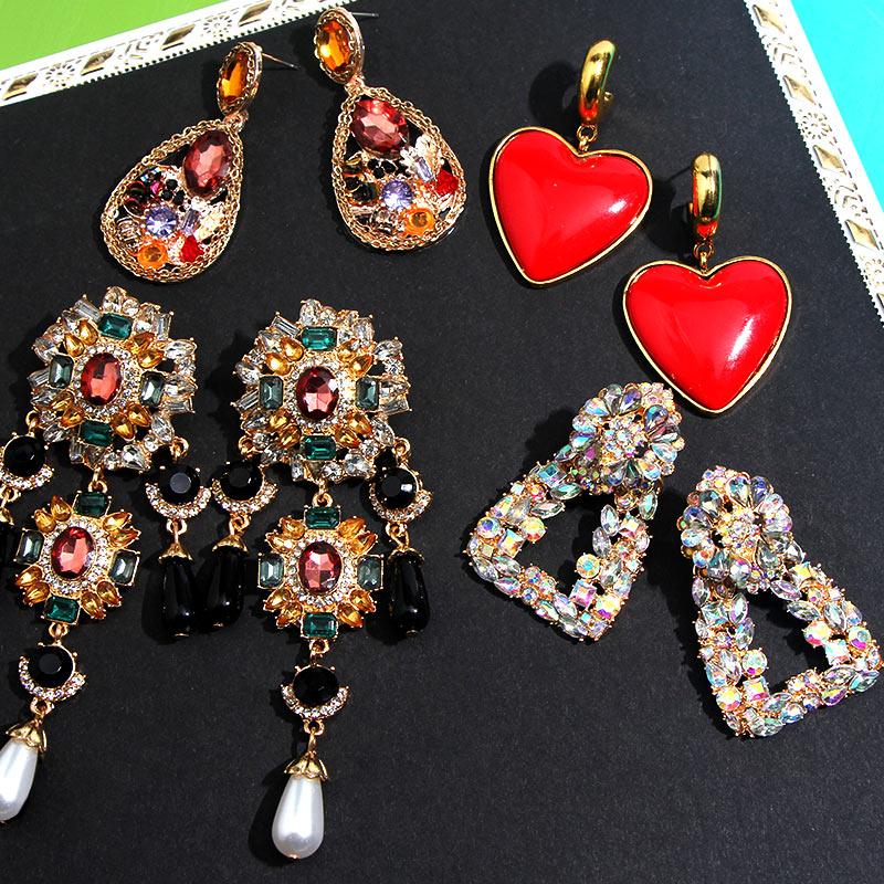 Flatfoosie Fashion New Crystal Stone Earrings For Women Gold Color za Statement Dangle Drop Earring Handmade Jewelry Accessories