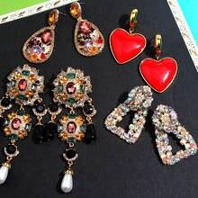 Женские серьги с кристаллами flatfoosie модные сережки подвески