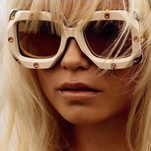Rhinestone Sunglasses Square Luxury Brand Designer Sun Glasses Fashion Stylish Man and Women Party Eyewear Street Glasses 9038BL stylish rhinestone and cloud shape embellished sunglasses for women