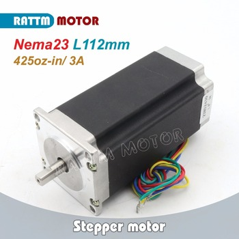 NEMA23 stepper motor 425Oz-in Single shaft 3A 112mm length 4 Leads for 3D printer for CNC Router Engraving milling machine image