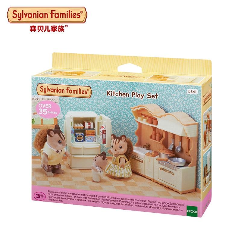 Sylvanian Families Sylvanian Families Joy Kitchen Set Cabinet Refrigerator Furniture CHILDREN'S Toy