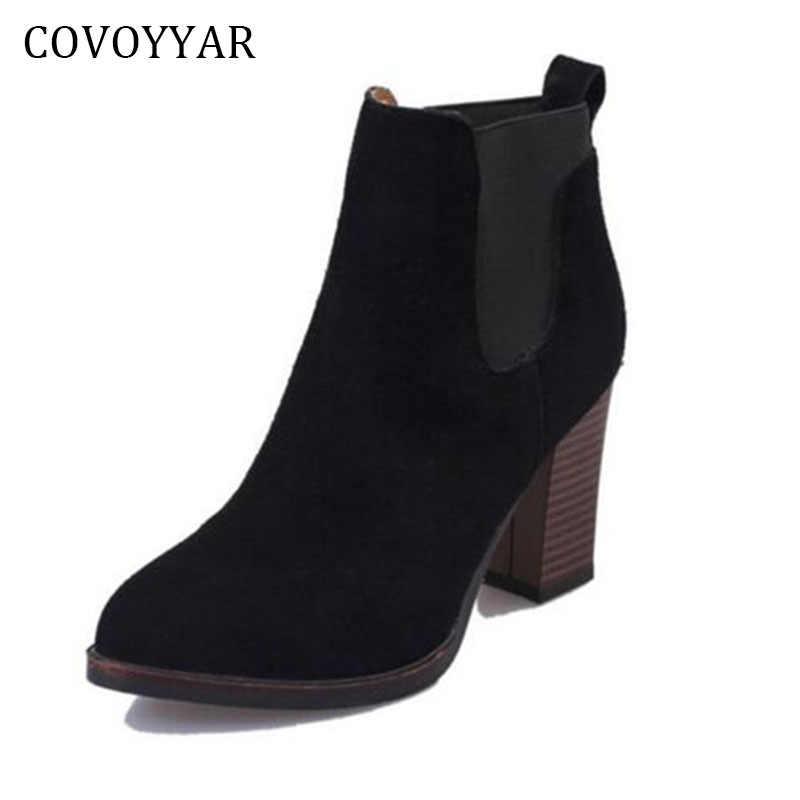 COVOYYAR, Botines negros de tacón grueso 2019 para mujer, botas aterciopeladas con punta en punta para otoño e invierno, zapatos para mujer WBS267