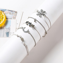 5pcs/Set Fashion Bohemia Moon&Star Snowflake Hand Cuff Link Chain Crystal Charm Bracelet Bangle for Women Silver Bracelets Femme