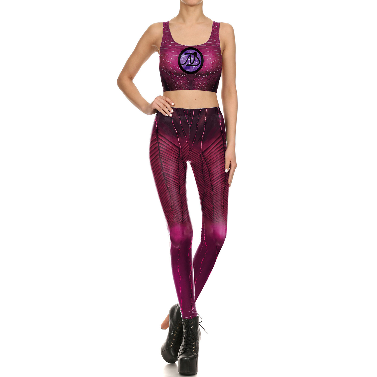 2019 New Style Europe And America-Style 3D Printed Elasticity Leggings Character Play Digital Printing Vest Leisure Suit