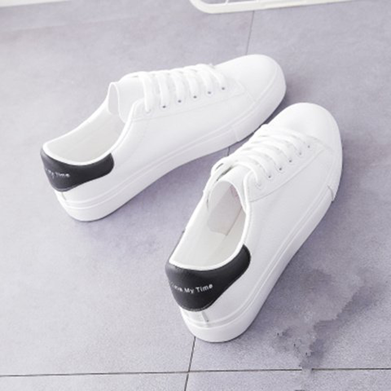 2020 Spring Autumn Fashion Women's Vulcanize Shoes Casual Classic Solid Color PU Leather Flat heel Woman White Shoes Sneakers 1