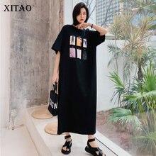 XITAOkorean Style Solid Color Loose Plus Size Split Fork Print O Neck Short Sleeve Dress