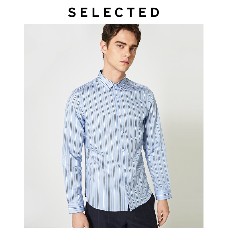 SELECTED Men's Lyocell Striped Long-sleeved Business Casual Shirt S|419305573