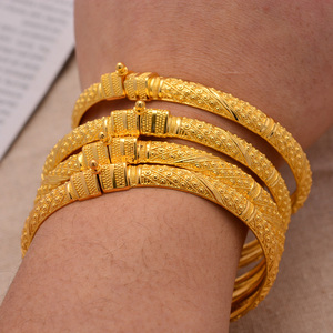 24K 4Pieces/Lot Wholesale Ethiopian Gold Color Bangles For Women Factory Price African Middle East Dubai Halloween Jewelry