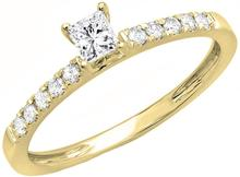 0,5 Carat (Ctw) 10K 14K 18K Prinzessin Runde Moissanite Diamant D Farbe Engagement Ring Rose Gold Weiß Gold(China)
