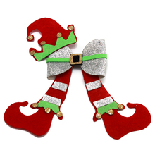 5 inch Christmas hair bows boots bow Boutique hat Handmade brilliant leather Hair accessories clip