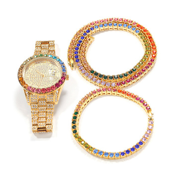 Reloj de cuarzo de acero inoxidable para hombre, cadena de eslabones de tenis, conjunto de 3 uds., joyería de Hip Hop 1