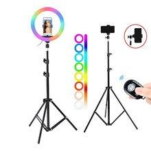 10 дюймов 13 дюймов RGB светодиодный кольцо для селфи с узконаправленным светильник с 1,6 м штатив-Трипод для фотосъемки, кольцевая лампа для TikTok...