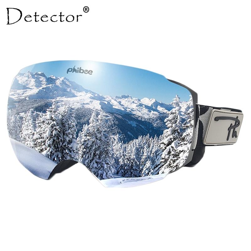 Detector Magnetic Ski Goggles Double Layers UV400 Anti-fog Ski Mask Glasses Snowmobile Skiing Men Women Snow Snowboard Goggles