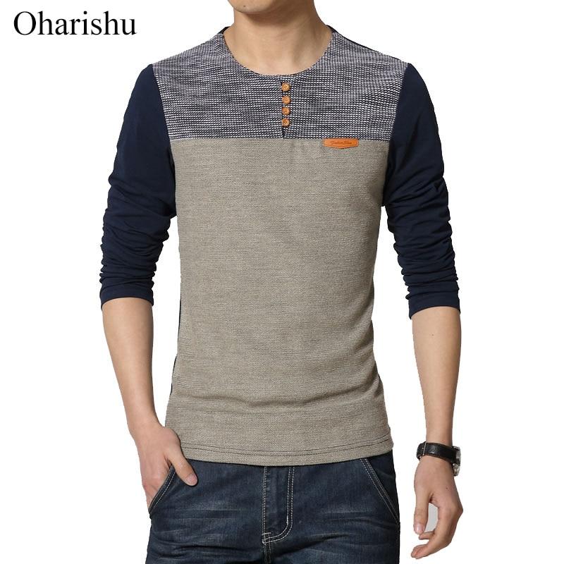 New Autumn Fashion Brand O-Neck Patchwork Slim Fit Long Sleeve T Shirt Men Trend Casual Men T-Shirt Korean Top Tee Shirts M-5XL
