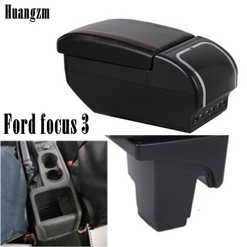 Armrest box For Ford focus 3 Dual Layer Rotatable Central Store Content box with Cup holder USB Interface Car decoration accesso|Armrests| |  - title=