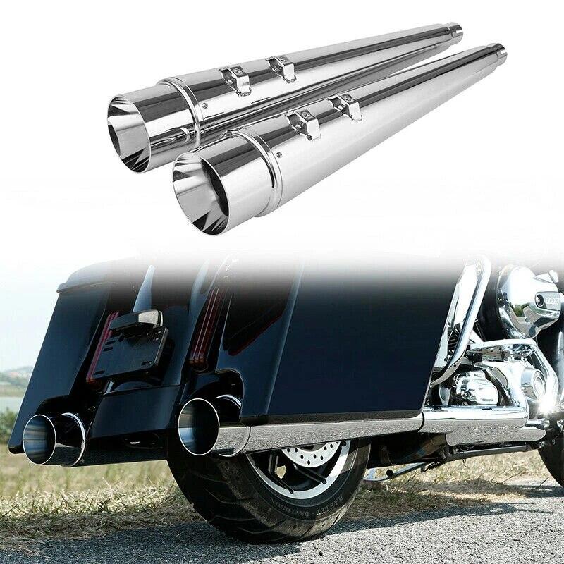 TCMT Megaphone Slip On Mufflers Exhaust Fit For Harley Davidson Touring Road King Electra Glide Street Glide Road Glide Bagger Dresser 2017-2020
