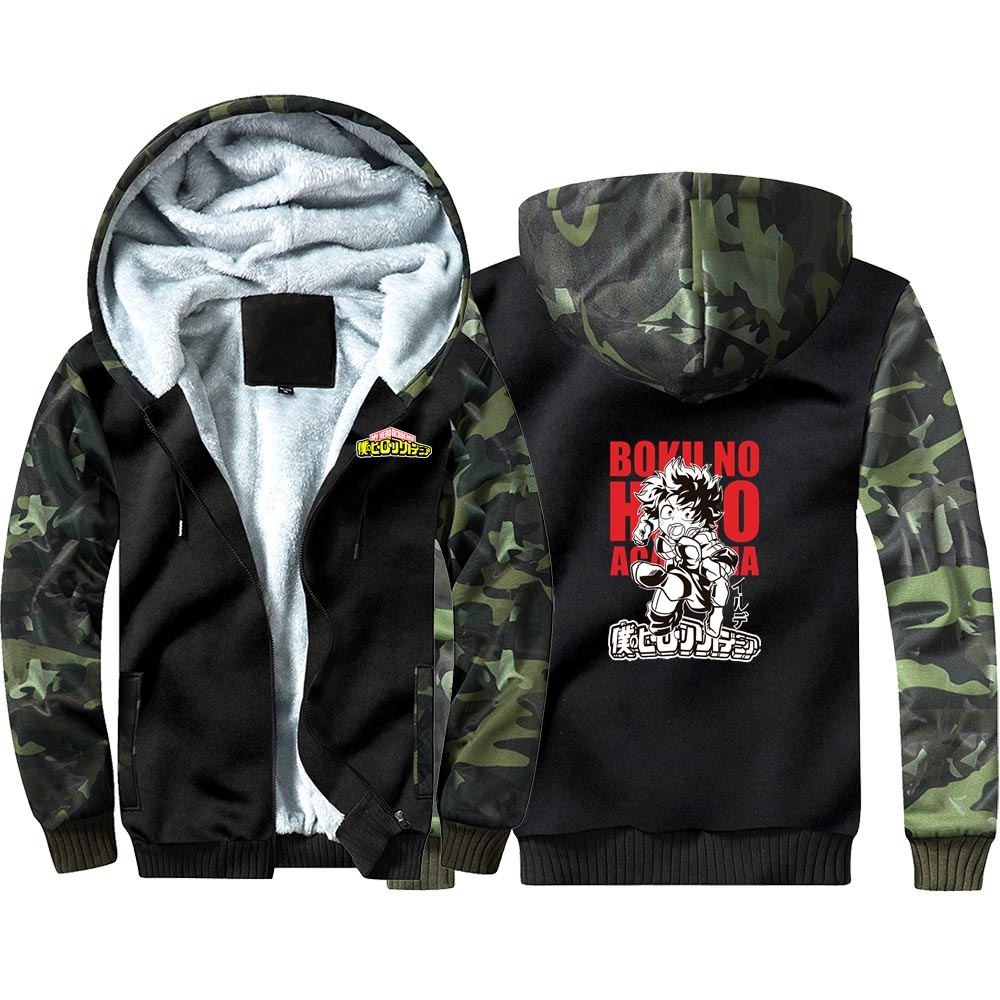 New Japan Anime My Hero Academia Camouflage Hoodie Sweatshirts Winter Thicken Hooded Coat Cosplay Costume Warm Men Clothing
