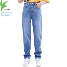 Oversize tall stature women jeans spring elastic waist denim pants loose high waist casual  X-long harem jeans plus size G934