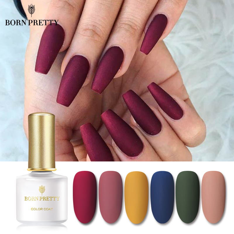 BORN PRETTY Matte Color UV Gel Nail Polish 6ml Black  Soak Off Nail Art UV Gel Varnish Top Base Coat Varnish