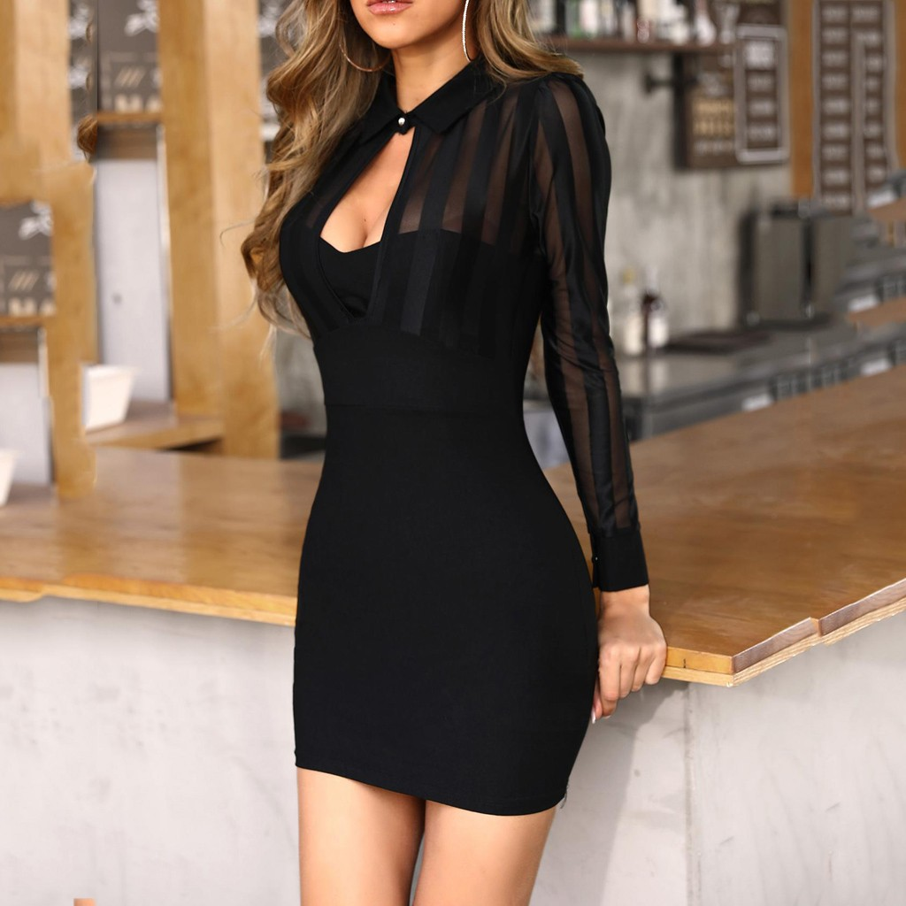 sexy black dresses Women Long Sleeve Sheer Striped Mesh Patchwork Bodycon v neck pencil Casual Work