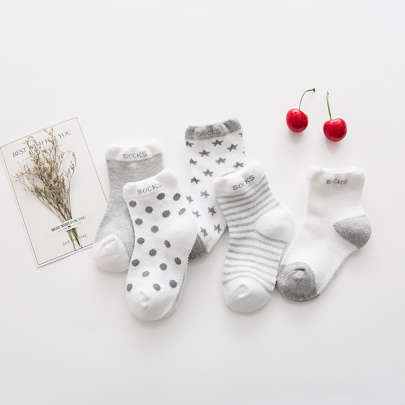 CHILDREN'S Socks Summer Thin Section Cotton Socks Mesh Baby Socks & Star Cotton Tube Breathable Baby Socks