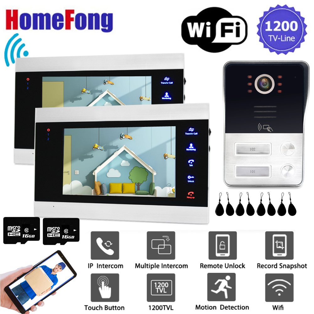 """Homefong 7 """"wi fi vídeo porteiro 2 apartamento com rfid sem fio vídeo porta telefone campainha sistema da câmera 1200tvl detecção de movimento"""