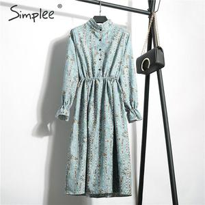 Image 2 - Simplee Corduroy plus size dress High waist ruffled floral print women dress Casual a line ladies chic autumn office dress 2019