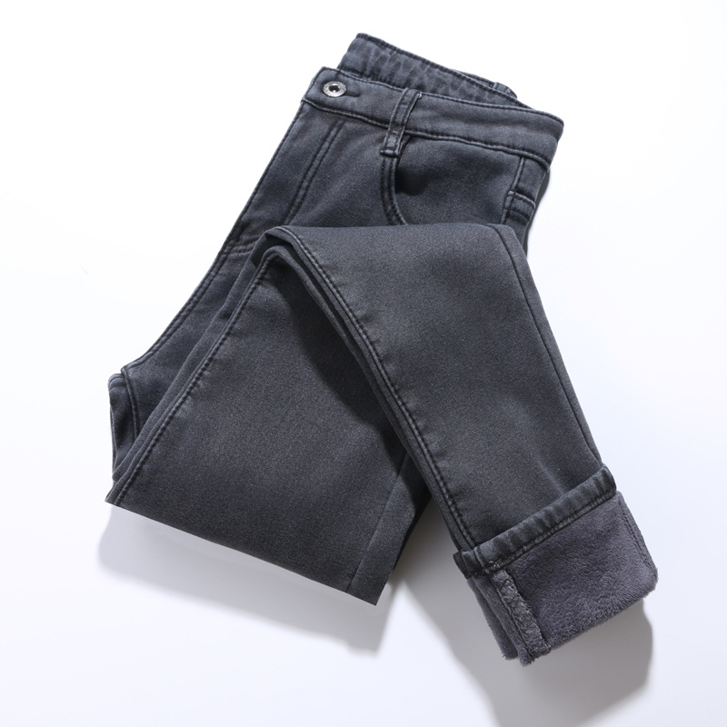 2019 Winter Pants For Women High Waist Korea Warm Thick Jeans Pants Female Fleeces Thickening Denim Pencil Pants Plus Size P9151