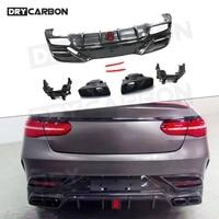 Carbon Fiber Rear Lip Diffuser Protector for Mercedes Benz GLE Class W292 GLE350 GLE63 AMG Coupe 2016-2019 Rear Bumper Spoiler 1