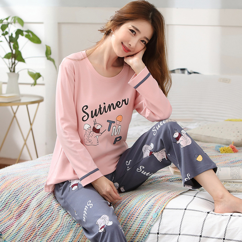 -Outer Wear Cartoon Pajamas Suit Autumn Long Sleeve Women's Cotton Large Size Plus-sized Pink Tracksuit Ultra-Large Size 5XL