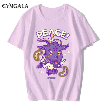 100% cotton anime cartoon Geng ghost printed men's T-shirt summer cotton short-sleeved T-shirt fashion tops tee men's clothing f - XQ-131pink, Asian size XS
