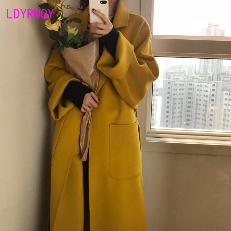2019 autumn and winter models Korean version of the straps lapel long paragraph ginger coat loose