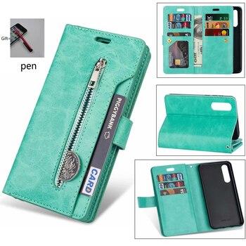 Retro Zipper 9 Card Leather Flip Case for xiao mi 9SE CC9 9lite A3 cover phone case For redmi 8A 7 GO 7A note 8 7 pro K30 case
