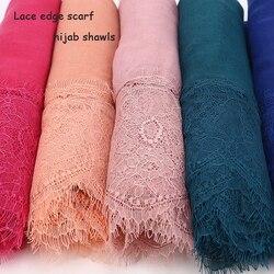 2017 señoras encaje bordes envío gratis hermoso hijabs bufandas mujeres liso/sólido algodón viscosa cabeza bufanda oversize silenciador chal