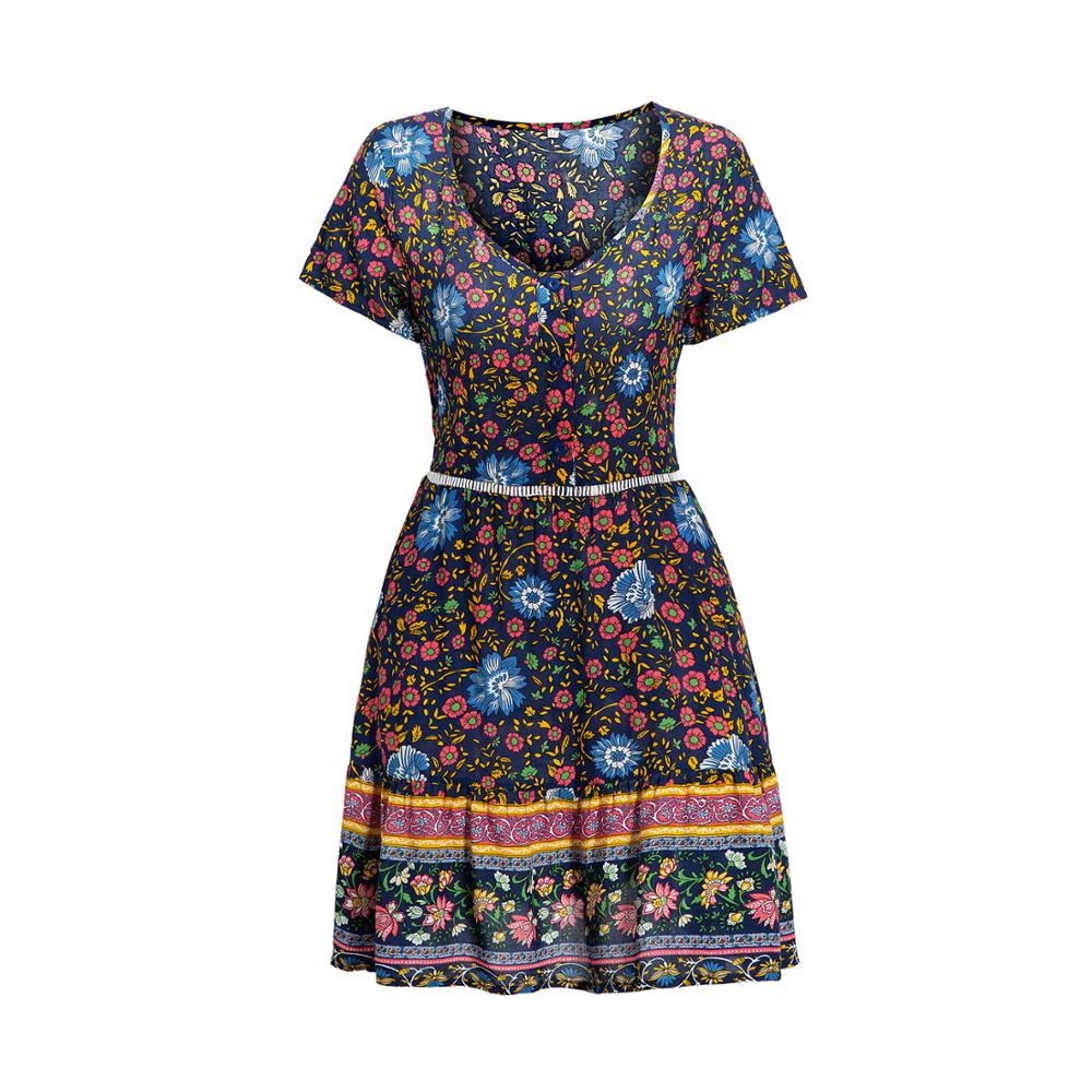 Платье с принтом женское платье v образным воротом на каждый