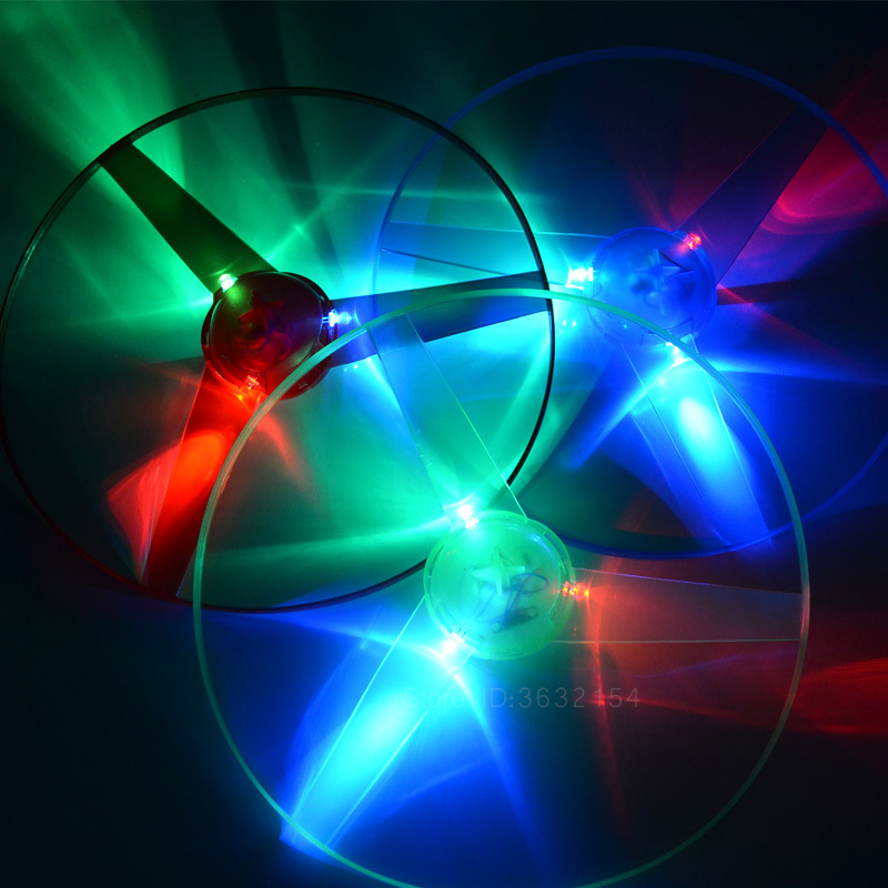 LED Flash Light Flying Saucer Disc Toys Colorful Pull String UFO Flying Luminous Toy Glow In The Dark Children's Outdoor Toys